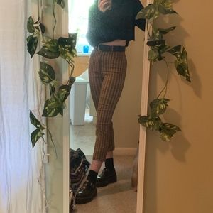 Urban Outfitters Mensy Plaid Straight Leg Trouser